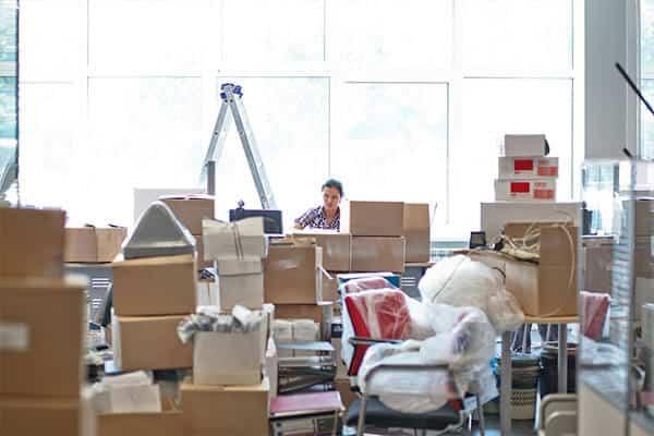 Ett kontor som förberedit sig inför en kontorsflytt